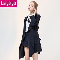 Lagogo2017秋新款藏青休闲风衣女中长款九分袖外套OL秋装上衣女