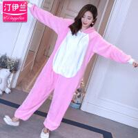 粉兔子睡衣连体卡通套装家居服长袖秋冬季加厚法兰绒珊瑚绒可爱