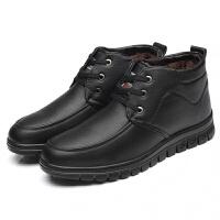 中老年男士保暖棉皮鞋冬季加绒加厚爸爸鞋高帮男棉鞋雪地靴子