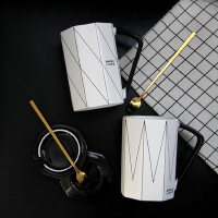 ins北欧情侣杯子一对创意咖啡水杯带盖勺陶瓷大容量办公室马克杯
