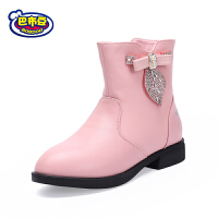 巴布豆童鞋 2017冬款女童水钻公主风保暖加绒舒适平底短靴马丁靴