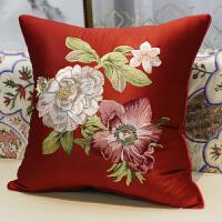 中式古典刺绣靠枕靠垫红木沙发抱枕欧式美式床头腰枕靠背枕套含芯
