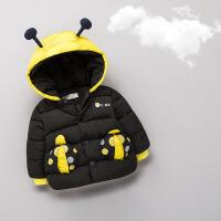 宝宝棉衣男0-1一岁男宝宝冬装婴儿羽绒服冬季加厚婴幼儿棉袄2 黑色 可爱昆虫