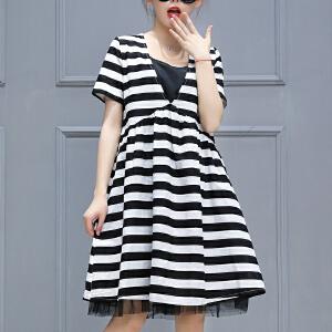 2018夏季新款女装短袖条纹连衣裙 中长款休闲立领a字裙