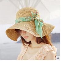 海边旅游帽折叠太阳帽沙滩帽大沿防晒帽草帽帽子女士韩版遮阳帽