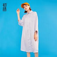 【1件3折价:89.5元】初语薄款裙子女春装新款时尚H型宽松纯色开襟长款衬衫连衣裙