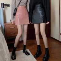 黑色高腰半身裙女pu皮裙子秋季2020年新款包臀裙皮裙百搭A字短裙