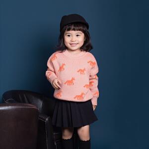 女童半身裙秋冬2018新款韩版纯棉儿童短裙中小童针织百褶裙黑色
