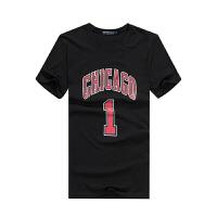 运动篮球T恤芝加哥公牛罗斯1号球衣篮球服定制印号 潮牌夏天短袖运动T恤男 黑色