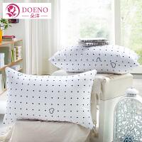 朵洋家纺 白色羽丝绒枕头床上用品 单人枕芯一对睡眠枕