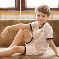 �和�睡衣�棉男孩夏天薄款套�b中大童男童����夏季全棉短袖空�{服 A03