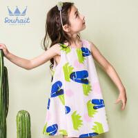 【1件5折 到手价:94.5元】水孩儿(SOUHAIT)女童夏装2018新款洋气裙子儿童沙滩裙度假无袖连衣裙AZEXM481