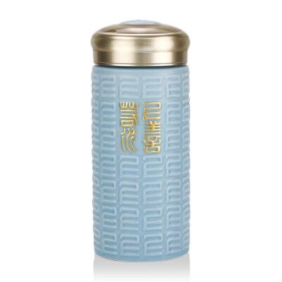 乾唐轩活瓷杯鎏金上善若水随身杯创新意陶瓷杯水杯