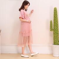 孕妇夏装连衣裙2018新款时尚甜美可爱粉色孕妈裙子两件套装蕾丝裙 均码