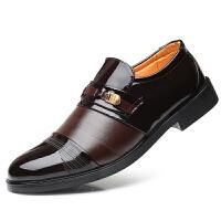 秋秋季男鞋真皮男士内增高皮鞋男商务休闲鞋正装增高鞋子青年婚鞋 黑色-棕色