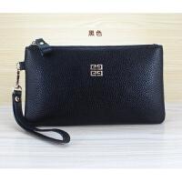 女士简约手包小包拉链手拿包皮夹钱包钥匙手机零钱包 黑色 (四方标)
