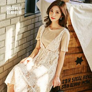 【1件3折:78元】韩都衣舍2019夏装新款版女装高腰蕾丝高冷气质连衣裙MR7684�S