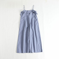 春夏新女天丝连体裤 荷叶边日系宽松裙裤吊带9分裤49X
