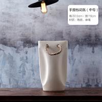 北欧家居软装饰品摆件 现代极简陶瓷花瓶花器客厅台面仿真花花插