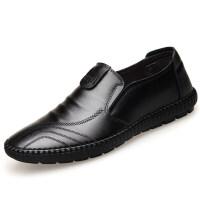 秋季新款男士皮鞋男鞋透气休闲英伦潮鞋软皮软底套脚爸爸鞋子 T1802 黑色 四季款