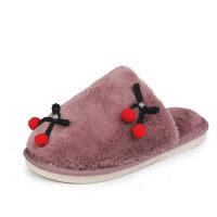 WARORWAR 法国新品YM12-1842冬季韩版加密加厚北极毛绒舒适保暖樱桃女毛拖鞋