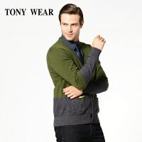 TONY WEAR/汤尼威尔商务休闲羊毛羊绒混纺男士毛衣开衫