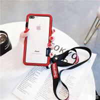 新款苹果x手机壳7p女款边框6s潮牌iPhone6大气8plus欧美创意xr女 6P/6sPlus 哑光边框 红色
