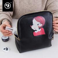 化妆包韩国大容量袋大号便携手提PU 软防水化妆袋皮黑色大号