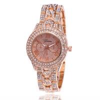 wish女士韩版时尚热卖款罗马钢带手表日内瓦Geneva带钻手表
