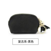 拉链小零钱包钱包女迷你可爱韩国简约卡包硬币袋小方包s6 复古系-黑色