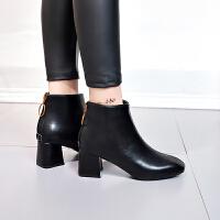 2018秋冬季新款英伦风方头皮靴粗跟高跟鞋子女士后拉链短靴马丁靴 黑色 薄绒内里