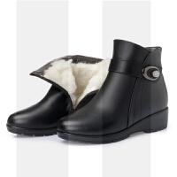 靴子女加绒短靴平底休闲中老年保暖软底棉鞋妈妈冬季真皮大码皮鞋SN4260 黑色羊毛