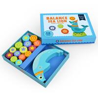 儿童益智早教海狮叠叠高木质平衡积木玩具3-4-5-6周岁