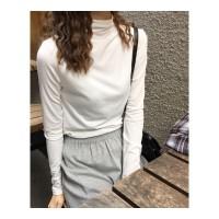 秋冬女装韩版纯色半高领修身加绒加厚保暖打底衫长袖T恤显瘦上衣 均码