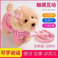 儿童狗狗走路会唱歌仿真泰迪狗毛绒电动会说话的牵绳机器小狗玩具