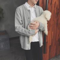 秋季日系原宿风长袖纯色针织衫开衫毛衣男韩版潮流宽松情侣外套衣
