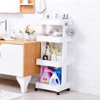 家居生活用品卫生间置物架厕所塑料储物架厨房客厅落地多层角架浴室收纳架 轮滑双侧四层 39.5*32.5*102CM