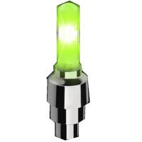 摩托车改装配件电动车轮胎装饰灯踏板车轮毂改装七彩爆闪灯装饰灯 长款绿色 单个价