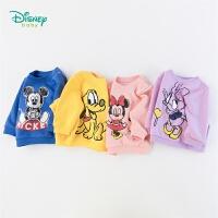 【139元3件】迪士尼Disney童装女童秋季保暖卫衣迪斯尼卡通印花套头衫秋季新款抓绒上衣193S1251