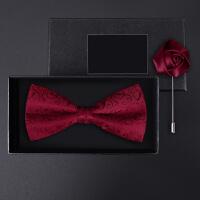 正装结婚婚礼英伦韩版蝴蝶结胸针礼盒装男士红色花纹领结套装