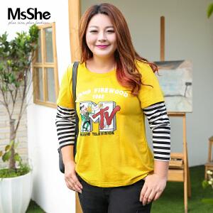 MsShe大码女装2017新款秋装胖妹妹韩版休闲拼接假两件t恤M1730293