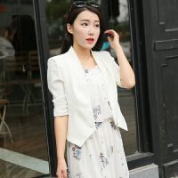 小西装女外套2018春季新短款收腰显瘦七分袖休闲黑白上衣西服