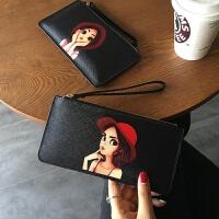 2018新款韩国可爱卡通手拿包薄长款真皮女士钱包拉链包手机包女款