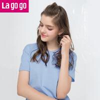 Lagogo/拉谷谷2019夏季新款前身刺绣领口镂空短袖T恤HATT313C09