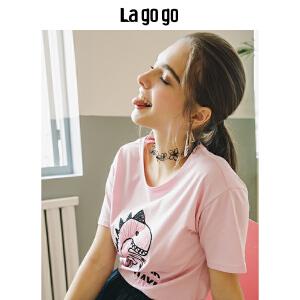 【清仓3折价77.7】Lagogo/拉谷谷2019年夏季新款时尚学院风圆领短袖T恤HATT314F01