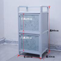 铝合金碗柜餐边柜厨房柜不锈钢简易储物柜阳台收纳小柜子组装厨柜 双门