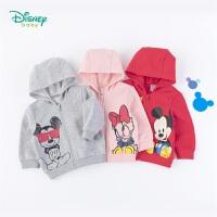 【2.6折价:59】迪士尼Disney童装 男女宝宝连帽抓绒外套迪斯尼卡通印花保暖大衣儿童秋季上衣193S1252