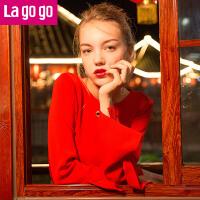 【清仓3折价79.8】Lagogo/拉谷谷2019年秋新款纯色气眼绑带装饰针织衫