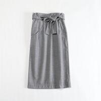 女秋冬毛呢半身裙 日系系带包臀花苞裙打底中长裙一步裙
