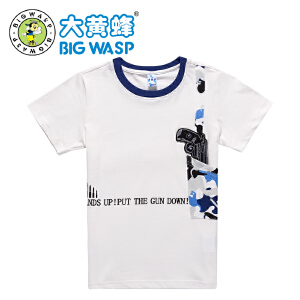 【618大促-每满100减50】大黄蜂童装 男童夏装2017新款 男童短袖休闲T恤 棉上衣中大童